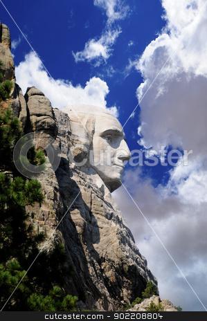 Profile of George Washington stock photo, Profile of George Washington at Mount Rushmore by Bonnie Fink