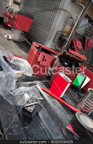 Pyrotechnic Remote and Equipment stock photo, Pyrotechnic remote control and other devices for movie effects crew by Scott Griessel