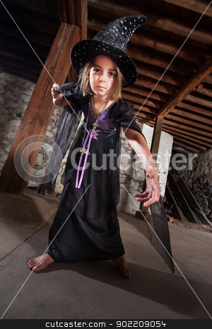 Young Witch Pointing Her Staff stock photo, Serious female European child witch pointing her magic staff by Scott Griessel