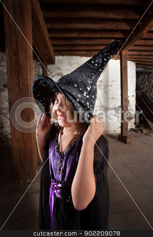 Cute Child Witch stock photo, Cute little girl holding witch hat and smiling by Scott Griessel