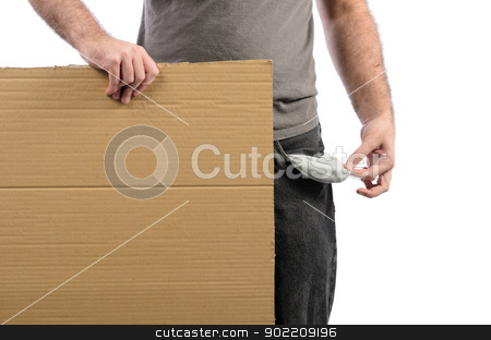 Moneyless stock photo, A moneyless man holding a cardboard sign with his pocket emptied out. by Richard Nelson