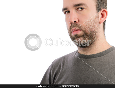 Serious Man stock photo, A serious man with a beard, isolated on a white background. by Richard Nelson