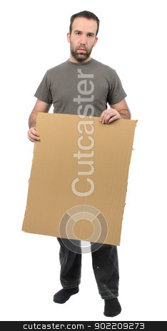 Scruffy Guy Holding Sign stock photo, A scruffy looking guy holding a blank piece of cardboard, isolated on a white background. by Richard Nelson