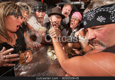 Nerd and Gang Arm Wrestling stock photo, Motorcycle gang members arm wrestling with a nerd  by Scott Griessel