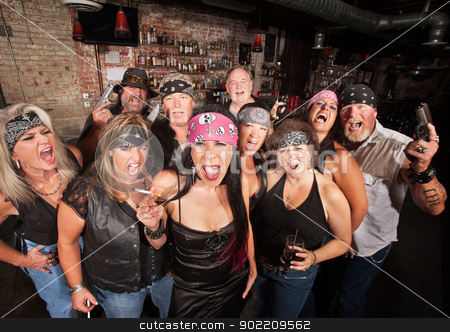 Biker Gang with Weapons and Drinks stock photo, Loud motorcycle gang members with weapons and drinks by Scott Griessel