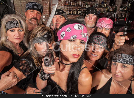 Threatening Biker Gang stock photo, Threatening motorcycle gang members with gun and knife by Scott Griessel