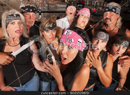 Shocked Gang Members stock photo, Shocked crowd of motorcycle gang members with weapons by Scott Griessel
