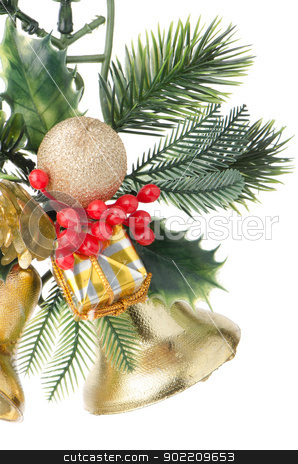 Christmas decorations stock photo, Christmas decorations on white reflective background. by Homydesign