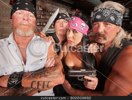Four Tough Bikers in a Bar stock photo, Four tough motorcycle gang members with weapons in tavern by Scott Griessel