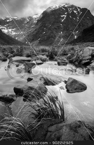 Fiordland stock photo, Mountain scenery photograph near Horner Tunnel, Fiordland, New Zealand by Hasnuddin Abu Samah