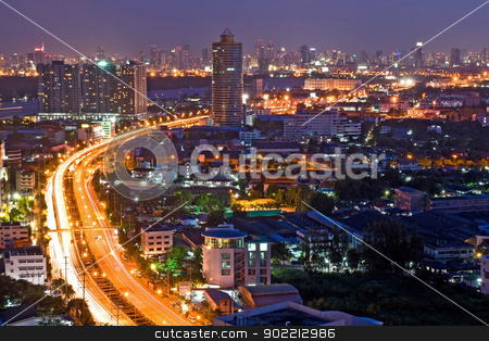 Bangkok Highway stock photo, Bangkok Freeway to City Top View at dusk in bangkok, Thailand by Vichaya Kiatying-Angsulee