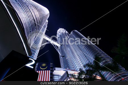 The twin towers  stock photo, Jan 17, Kuala Lumpur, Malaysia.The twin towers shine at dusk on Jan 17,2009. They are the worlds tallest twin buildings in the world. by Vichaya Kiatying-Angsulee