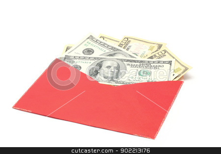 Money in Red Envelope stock photo, Money Dollar Cash Banknote in Red Envelope on White Background using for Chinese New Year Celebration Concept (Selective focus at Banknotes) by Vichaya Kiatying-Angsulee