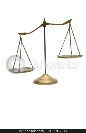 unbalance of golden brass scales of justice on white stock photo, unbalance of golden brass scales of justice on white by Vichaya Kiatying-Angsulee