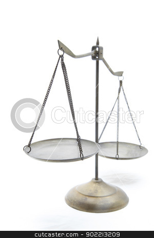 golden scale stock photo, unbalance of golden brass scales of justice on white front perspective by Vichaya Kiatying-Angsulee