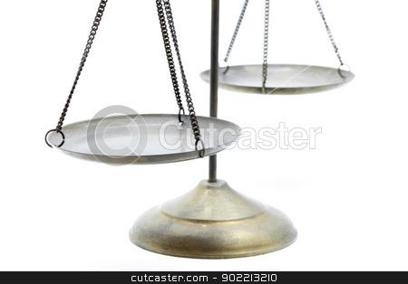perspective of golden scale stock photo, perspective of golden brass scales of justice on white background by Vichaya Kiatying-Angsulee