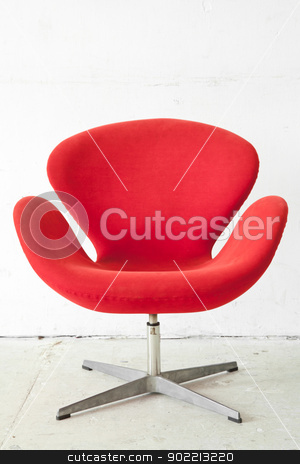 modern red Chair stock photo, modern red Chair contemporary style in vintage room by Vichaya Kiatying-Angsulee