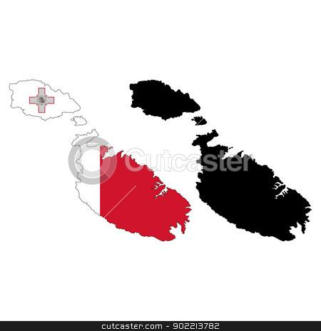 Malta stock vector clipart, Vector illustration map and flag of Malta. by Liu Yin