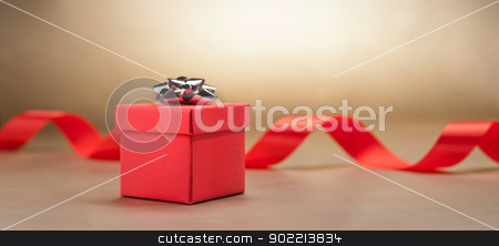 Present  in front of beige background stock photo, Present  in front of beige background nice for a wedding by Ulrich Schade
