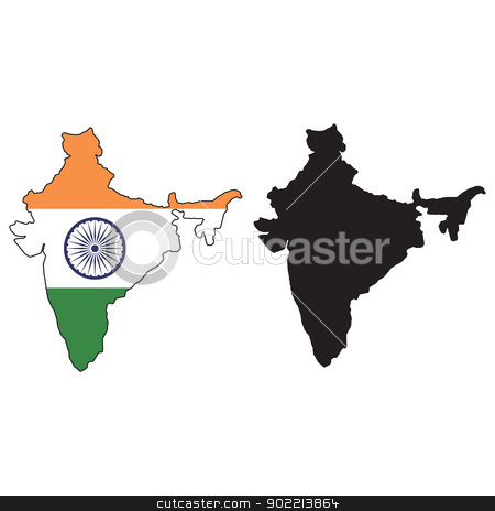 India stock vector clipart, Vector illustration map and flag of India. by Liu Yin