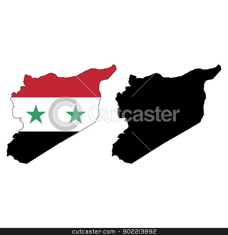 Syria stock vector clipart, Vector illustration map and flag of Syria. by Liu Yin