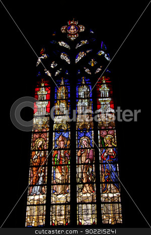Stained glass in a church in Aix en Provence stock photo, stained glass in a church in Cathdrale Saint-Sauveur, Aix en Provence by Porto Sabbia
