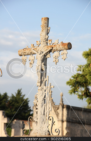 cast iron cross ornament stock photo, rusted, cast iron cross ornament at a cemetery in the Provence by Porto Sabbia