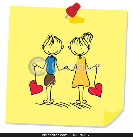 memo paper stick figure couple stock vector clipart, pinned memo paper stick figure couple by glossygirl21