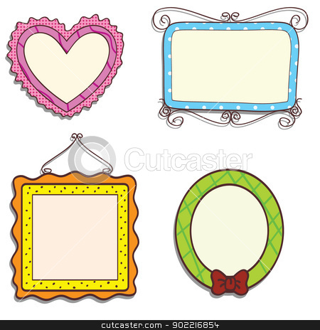 doodle frames stock vector clipart, four doodle frames as photo frames and others by glossygirl21