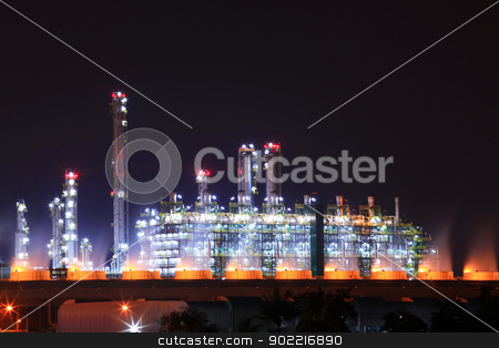 petrochemical oil refinery plant stock photo, beautiful scenic of petrochemical oil refinery plant shines at night by Vichaya Kiatying-Angsulee