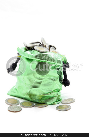 green money bag coins stock photo, full coins spilling out from green money bag or purse isolated on white by Vichaya Kiatying-Angsulee