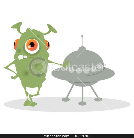 Alien  stock vector clipart, Green alien with orange eyes standing next to a spacecraft. by LetsThinkSimple