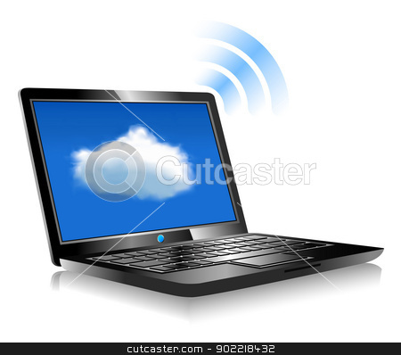 Laptop Cloud Connection wifi digital stock vector clipart, Client computers communicating with resources located in the cloud by Fenton