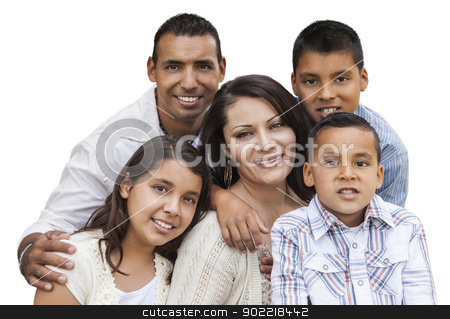 Happy Attractive Hispanic Family Portrait on White stock photo, Happy Attractive Hispanic Family Portrait Isolated on a White Background. by Andy Dean