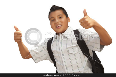 Happy Young Hispanic School Boy with Thumbs Up on White stock photo, Happy Young Hispanic School Boy with Thumbs Up Isolated on a White Background. by Andy Dean