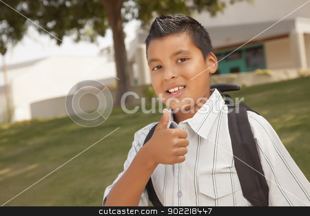 Happy Young Hispanic School Boy with Thumbs Up stock photo, Happy Young Hispanic School Boy with Thumbs Up one Morning. by Andy Dean
