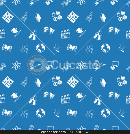 Seamless education or topics background stock vector clipart, A repeating seamless education subjects background tile texture with lots of drawings of different education categories or subject topic icons by Christos Georghiou