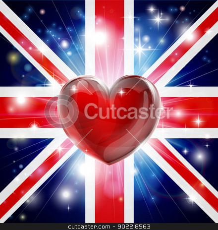 Love UK flag heart background stock vector clipart, Union Jack patriotic background with pyrotechnic or light burst and love heart in the centre by Christos Georghiou