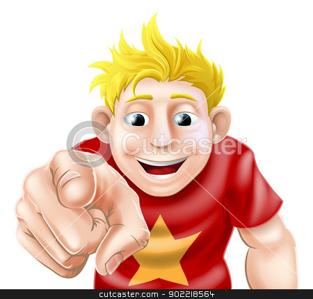 Man pointing at viewer stock vector clipart, An illustration of a cartoon man or boy laughing or smiling and pointing at the viewer by Christos Georghiou
