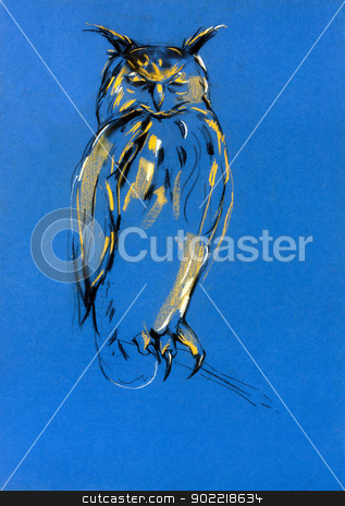 Birds of prey stock photo,  Original pastel and  hand drawn painting or  working  sketch of owl.Free composition of birds of prey. rapacious birds.  by borojoint