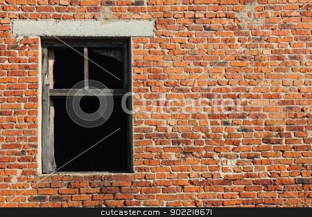 Old brick wall with window stock photo, Old brick wall with broken wood window by SergeyK787