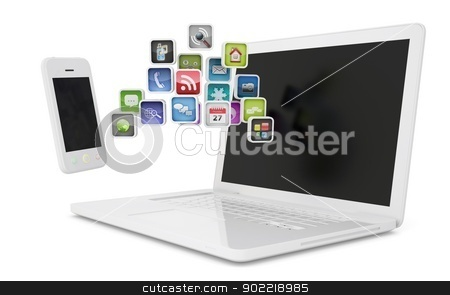 White laptop and smartphone communicate stock photo, White laptop and smartphone communicate. Isolated render on a white background by cherezoff