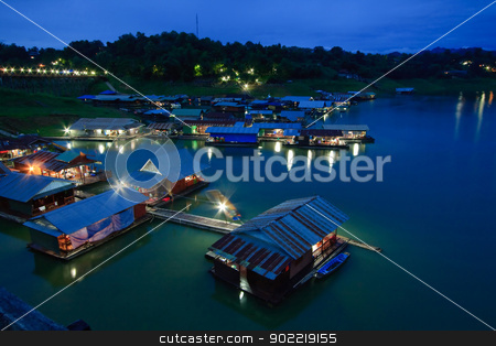 floating village West of Thailand stock photo, Thai Mon Floating village on the River in Sangkraburi Kanchanaburi Provice Border of Thailand and Myanmar in dusk by Vichaya Kiatying-Angsulee