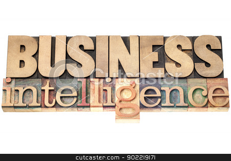 business intelligence in wood type stock photo, business intelligence - isolated text in vintage letterpress wood type printing blocks by Marek Uliasz