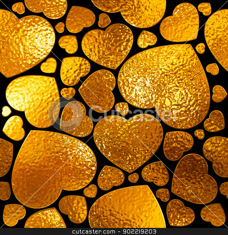 Seamlessly gold hearts pattern. stock photo, Seamlessly gold hearts pattern. by Oleksiy Fedorov