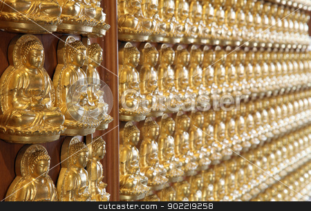 perspective of thousand buddha wall in dragon temple Thailand stock photo, perspective of thousand buddha wall in dragon temple Thailand by Vichaya Kiatying-Angsulee