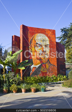 Lenin in Sochi stock photo, Mosaic portrait of Vladimir Lenin in Sochi by Viacheslav Belyaev