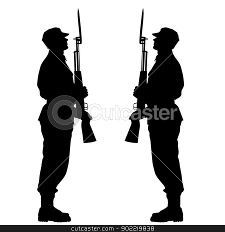 Silhouette soldiers during a military parade. Vector illustratio stock photo, Silhouette soldiers during a military parade. Vector illustration. by aarrows