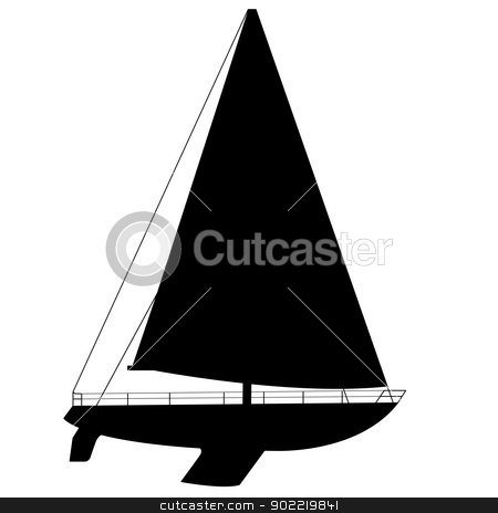 Sailing boat floating. Vector illustration. stock photo, Sailing boat floating. Vector illustration. by aarrows