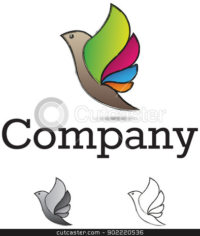 Bird design element stock vector clipart, Corporate identity design element, bird with colorful wings, monochrome versions included by HypnoCreative